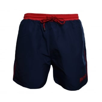 Hugo Boss Men's Navy And Red Starfish Shorts