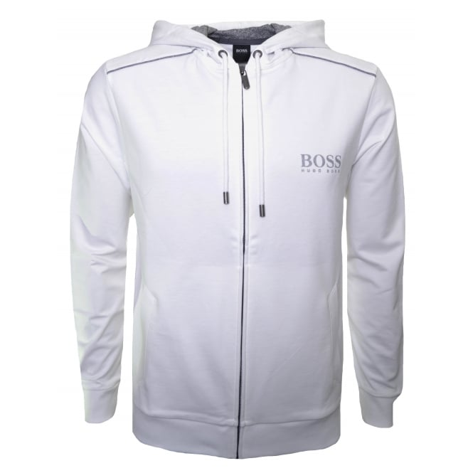 Hugo Boss Leisure Wear Hugo Boss Men's White Hooded Zip Through Sweatshirt