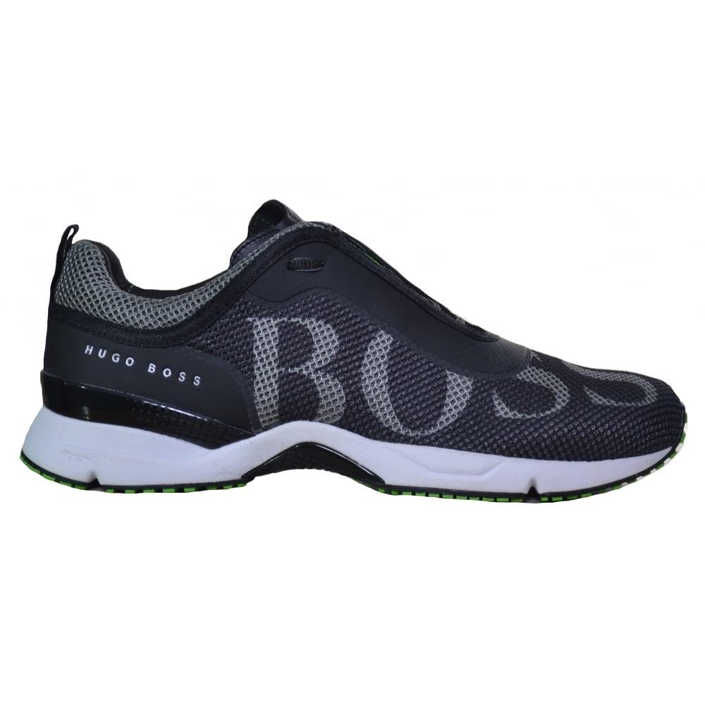 hugo boss green men's black velox trainers