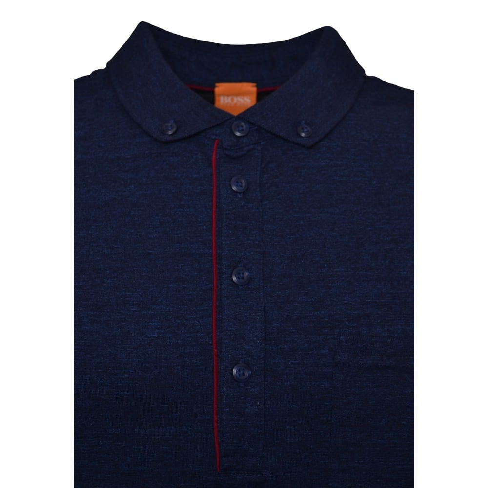 Hugo Boss Orange Men's Patcherman 2 Navy Blue Long Sleeve Polo Shirt