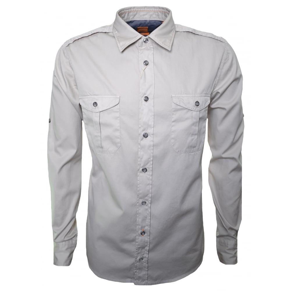 976a4c1e Hugo Boss Orange Men's Slim Fit CadettoE Open White Long Sleeve Shirt