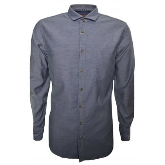 Hugo Boss Orange Men's Slim Fit Dark Blue Cattitude Long Sleeve Shirt
