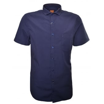 Hugo Boss Orange Men's Slim Fit Dark Blue Cattitude Short Sleeve Shirt
