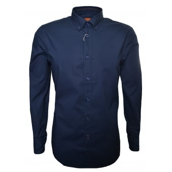 Hugo Boss Orange Men's Slim Fit Dark Blue Epreppy Long Sleeve Shirt