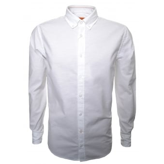 Hugo Boss Orange Men's Slim Fit White Epreppy Long Sleeve Shirt