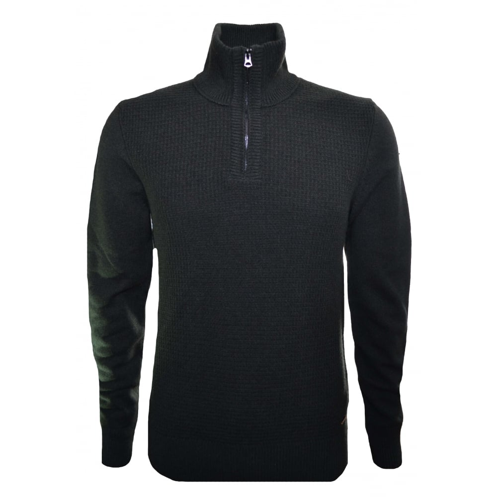 Hugo Boss Orange Men's Almore Dark Green Half Zip Jumper