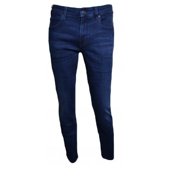 Hugo Boss Orange Men's Blue Super-Stretch Slim Fit Orange63 Jeans