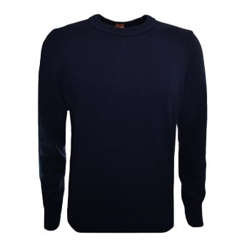 Hugo Boss Orange Men's Dark Blue Amidro Knitted Jumper