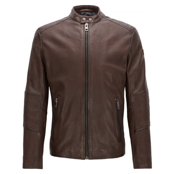 Hugo Boss Orange Men's Jeeper Dark Brown Leather Jacket