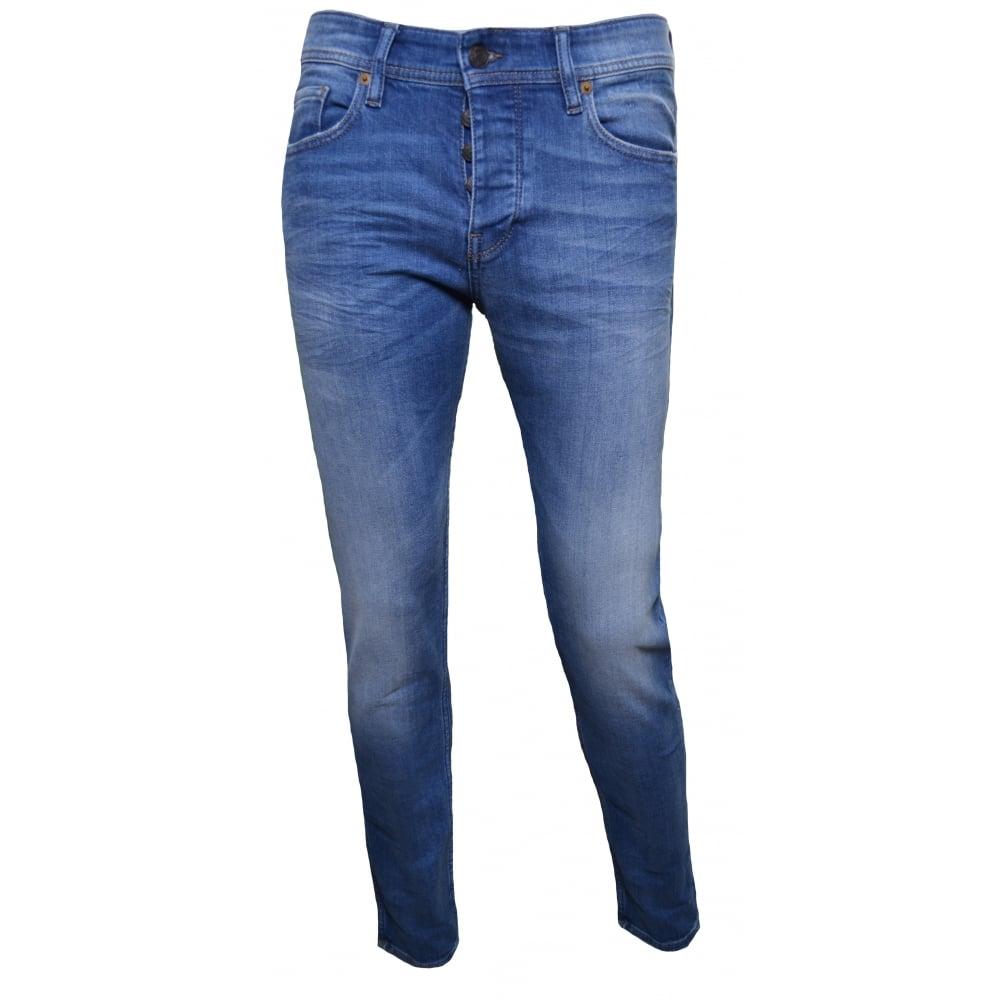 bee3b579a46f32 Hugo Boss Orange Men's Orange90 Tapered Fit Blue Jeans