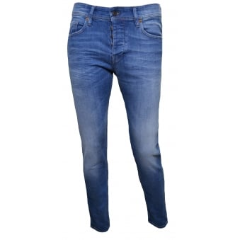 Hugo Boss Orange Men's Orange90 Tapered Fit Blue Jeans