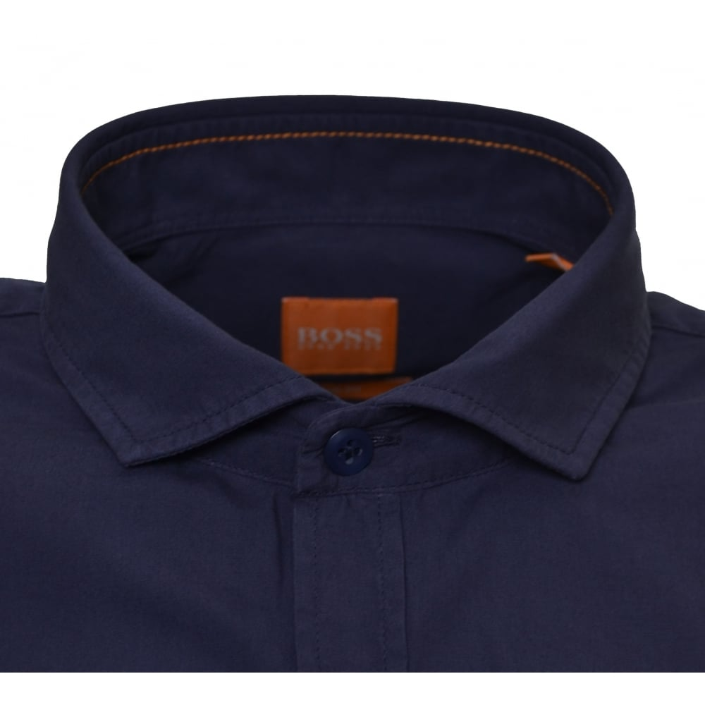 40db09231 Hugo Boss Orange Men's Slim Fit Dark Blue Cattitude Short Sleeve Shirt