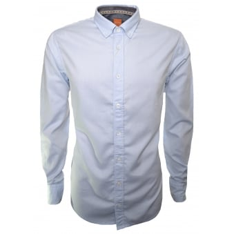 Hugo Boss Orange Men's Slim Fit EdipoE Open Blue Long Sleeve Shirt