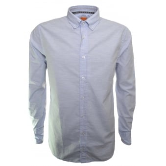 Hugo Boss Orange Men's Slim Fit Epreppy Open Blue Long Sleeved Shirt