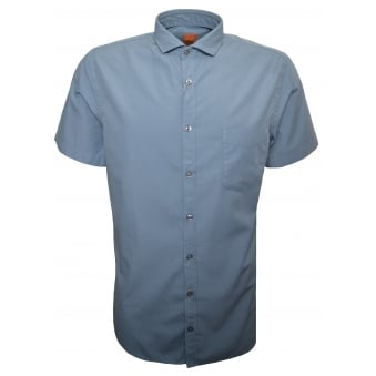 Hugo Boss Orange Men's Slim Fit Light Pastel Blue Cattitude Short Sleeve Shirt