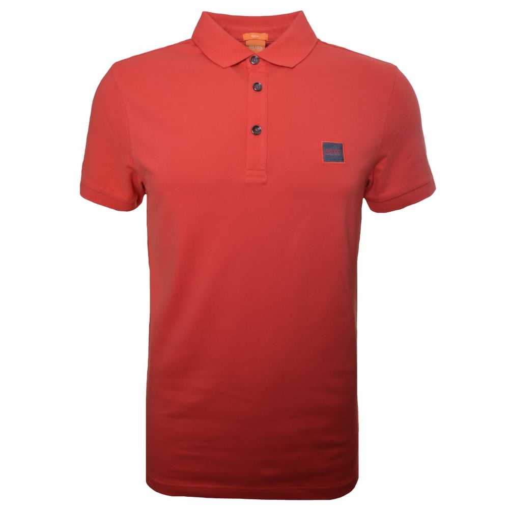 Hugo Boss Orange Men's Slim Fit Medium Red Pavlik Polo Shirt