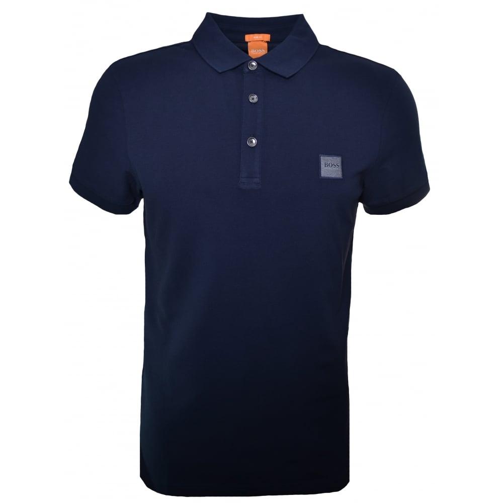 Hugo boss orange men 39 s dark blue pavlik polo shirt for Orange polo shirt mens