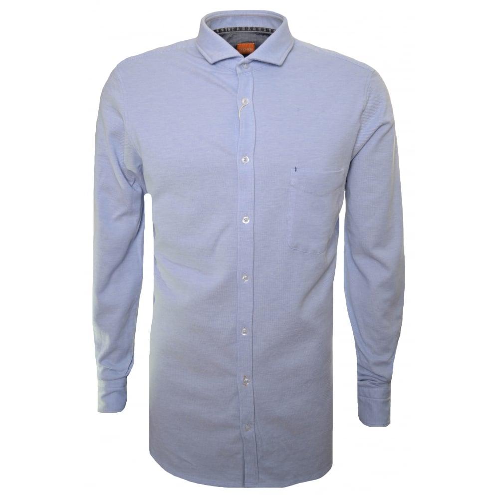 Hugo Boss Orange Men's Slim Fit Open Blue Cattitude Long Sleeved Shirt