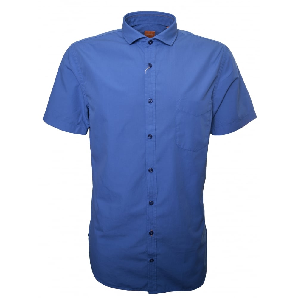 79dcd49a5 Hugo Boss Orange Men's Slim Fit Open Blue Cattitude Short Sleeve Shirt