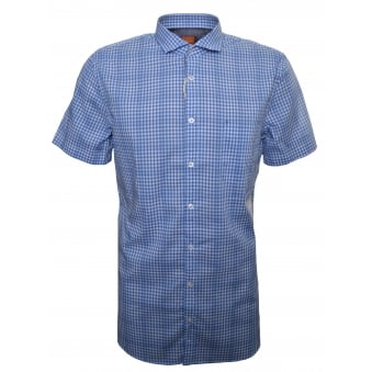 Hugo Boss Orange Men's Slim Fit Open Blue Cattitude Short Sleeve Shirt