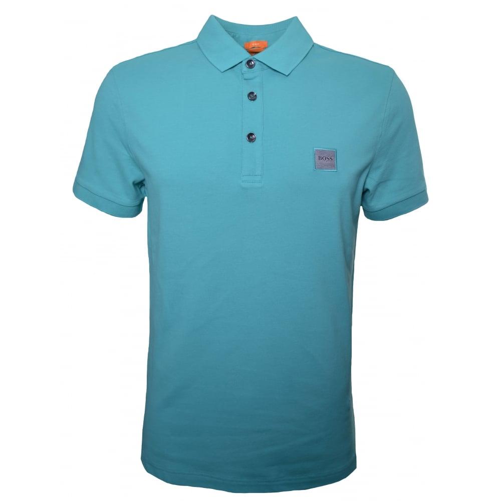 777af2b6 Hugo Boss Orange Men's Slim Fit Turquoise/Aqua Pavlik Polo Shirt