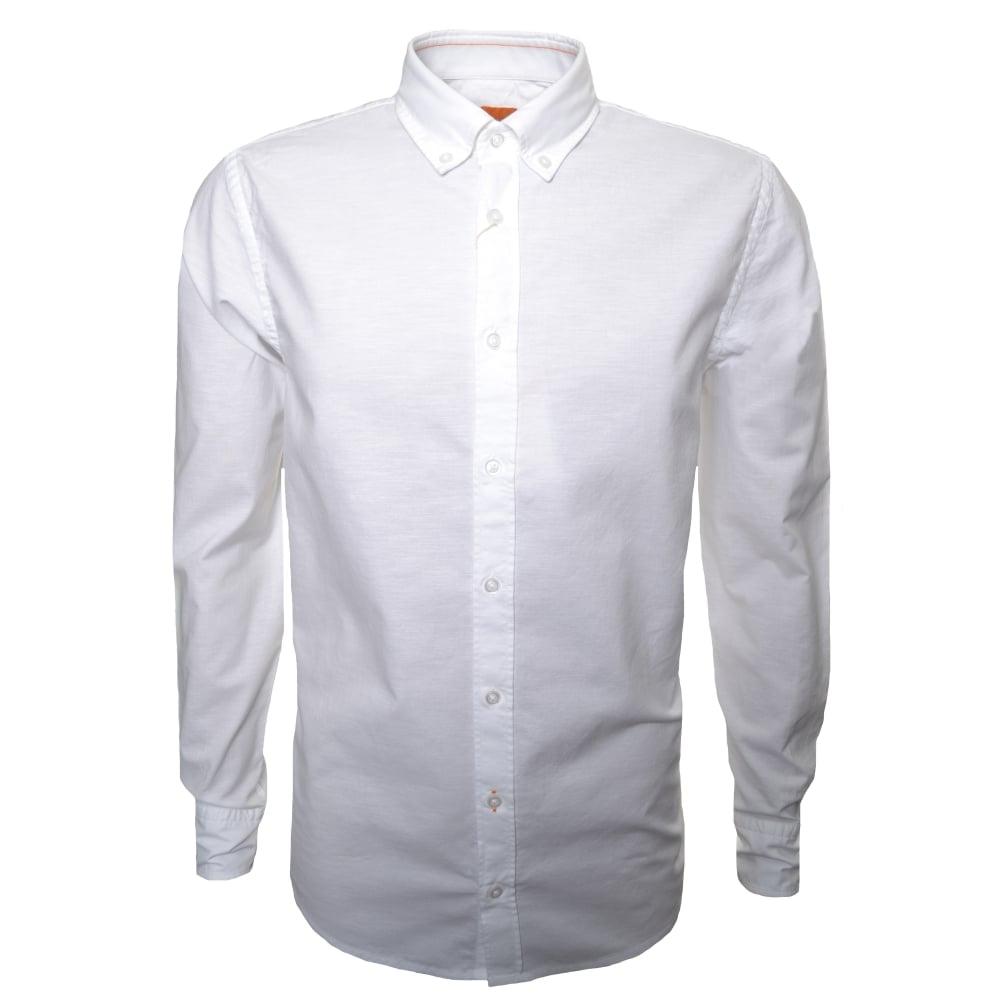 6f5482b75 Hugo Boss Orange Men's Slim Fit White Epreppy Long Sleeve Shirt