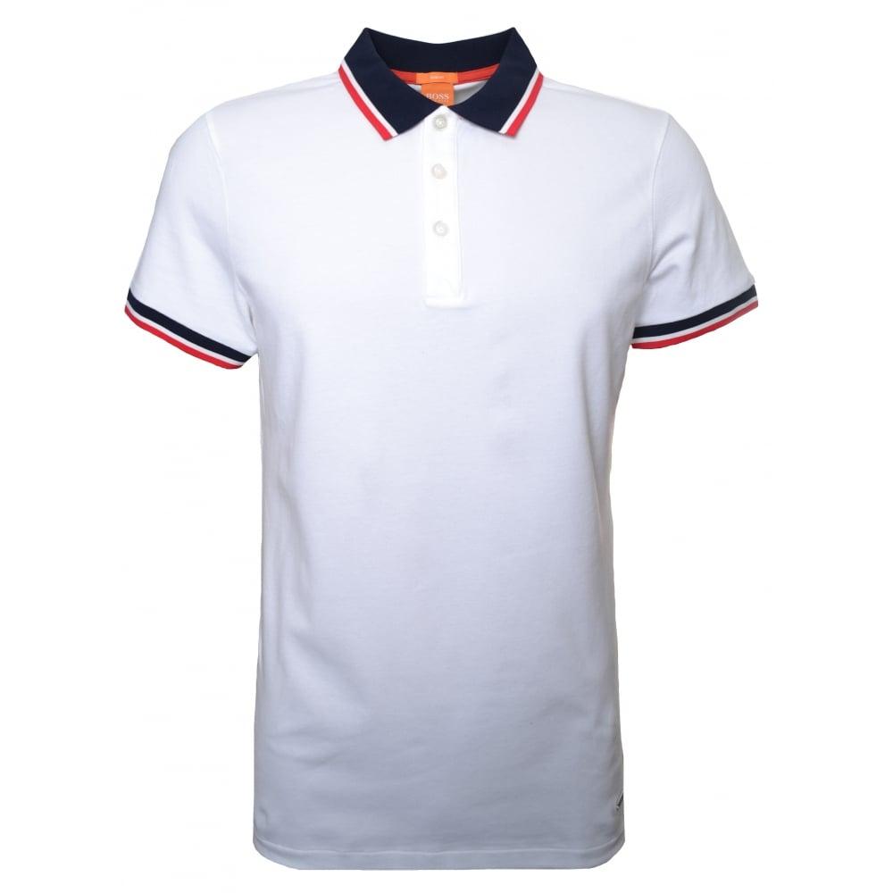 16a4c3d05c8d Hugo Boss Orange Men  039 s Slim Fit White Pay Polo Shirt