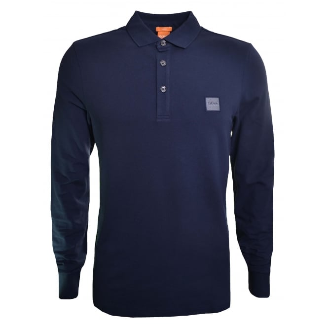 Hugo Boss Orange Slim Fit Navy Blue Paulyn Long Sleeved Polo Shirt