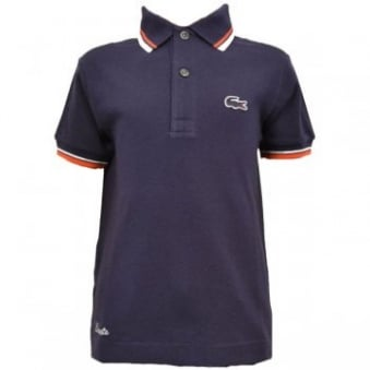 Kids Lacoste Navy Blue Polo T-Shirt
