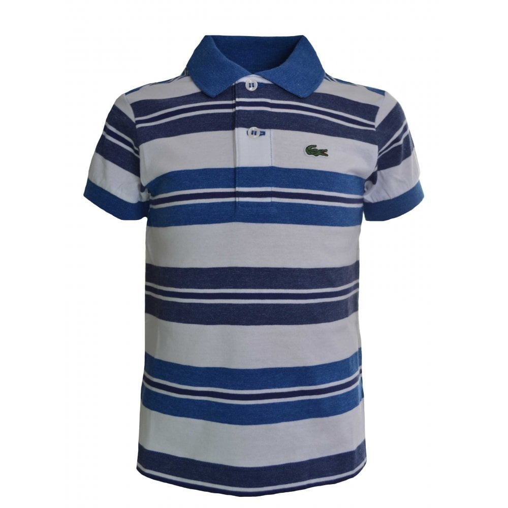 ebaf7f36 Lacoste Boys Lacoste Kids Blue And White Striped Polo Shirt