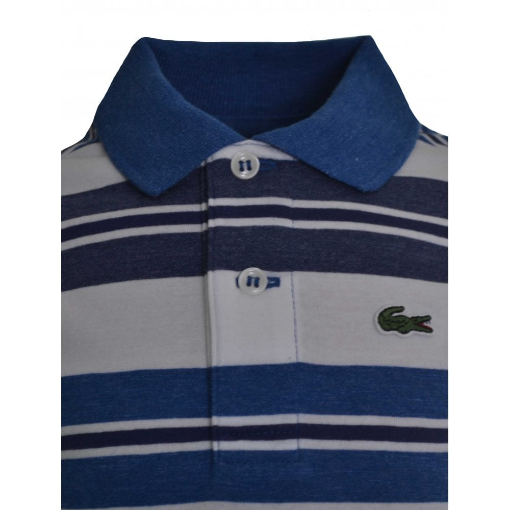 8459ff29 Lacoste Kids Blue And White Striped Polo Shirt