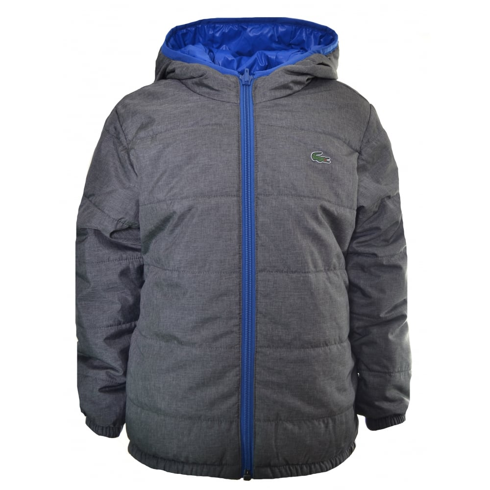 sklep specjalne wyprzedaże super jakość Lacoste Boys Lacoste Kids Grey And Blue Reversible Padded Jacket