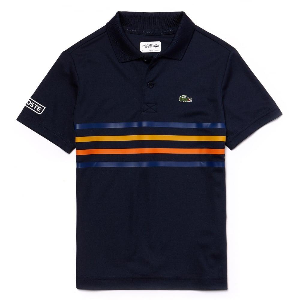 300798f07 lacoste kids navy blue striped polo