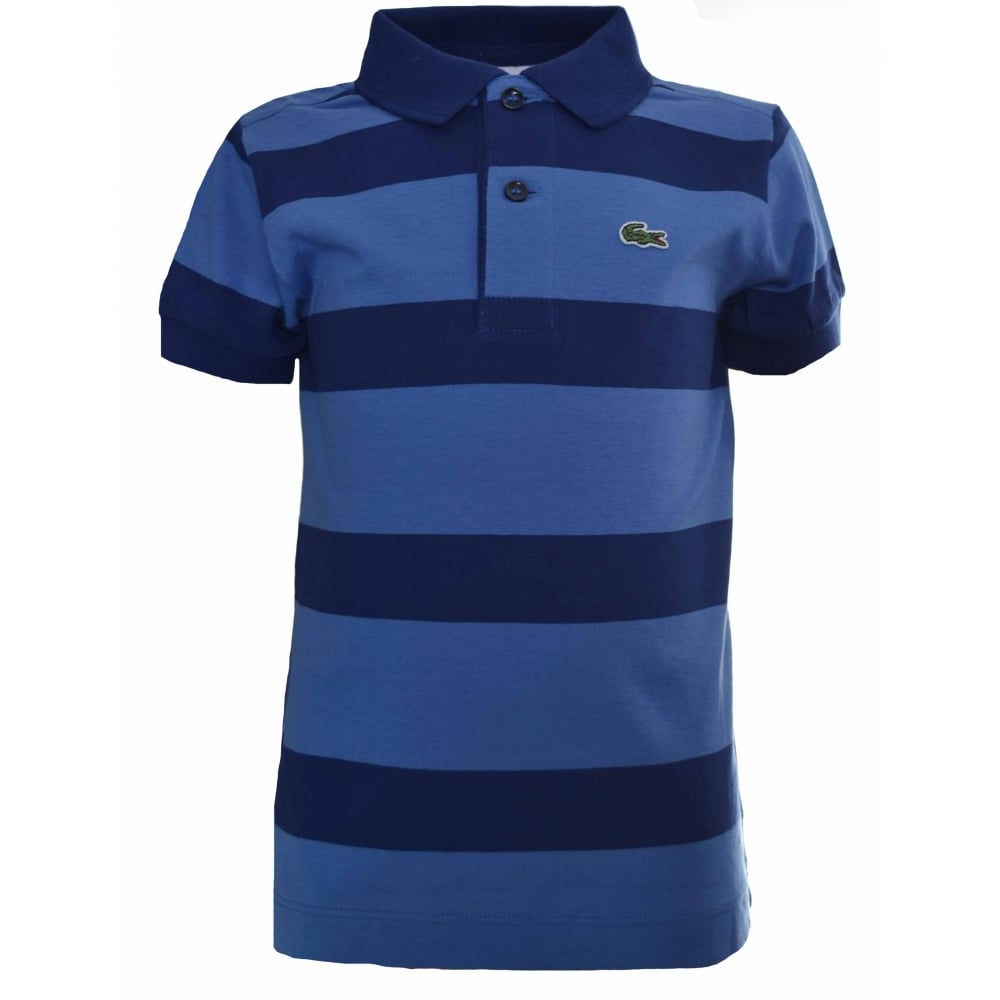 b428b7cbd Lacoste Kids Navy Blue Striped Polo Shirt