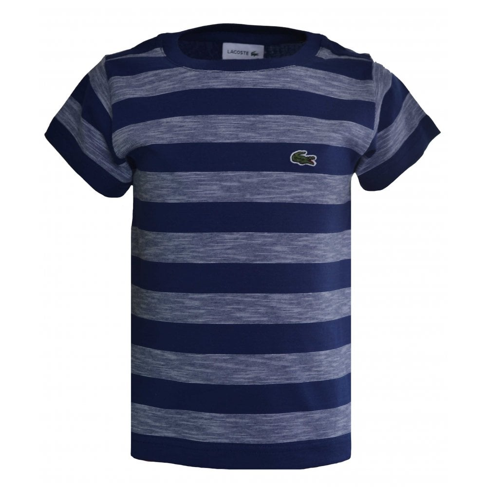 2a95a306911f4 Lacoste Kids Navy Blue Striped T-Shirt