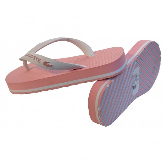 lacoste girls pink flip flops