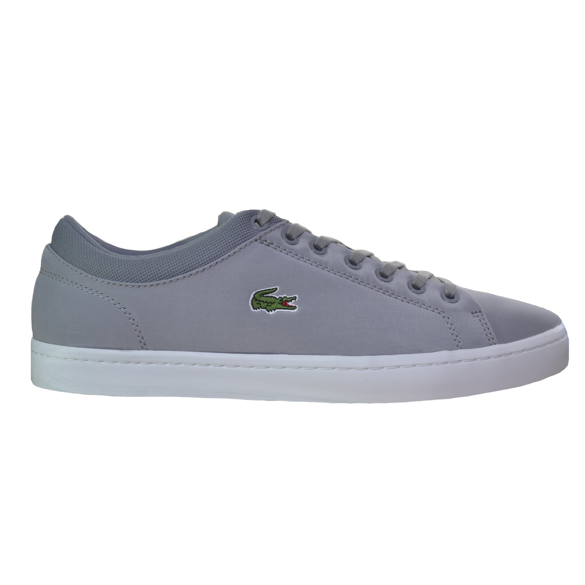 lacoste men's grey straightset trainers