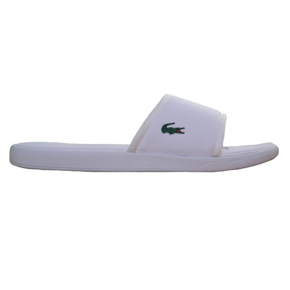 391c586bb Lacoste Men  039 s White L.30 Slide Sport Flip Flops