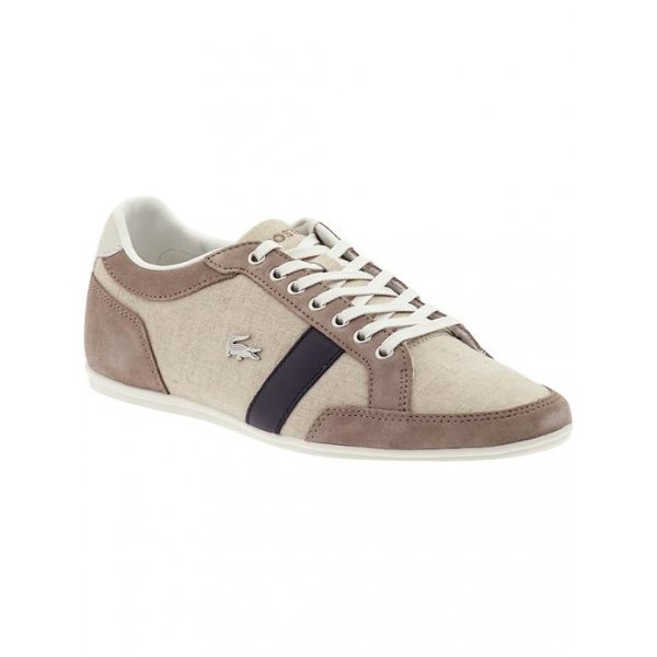 1cf3453cbe856 men s lacoste alisos 12 light brown textile canvas trainer