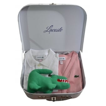 Lacoste Girls White Polo And Pink Cardigan Gift Set
