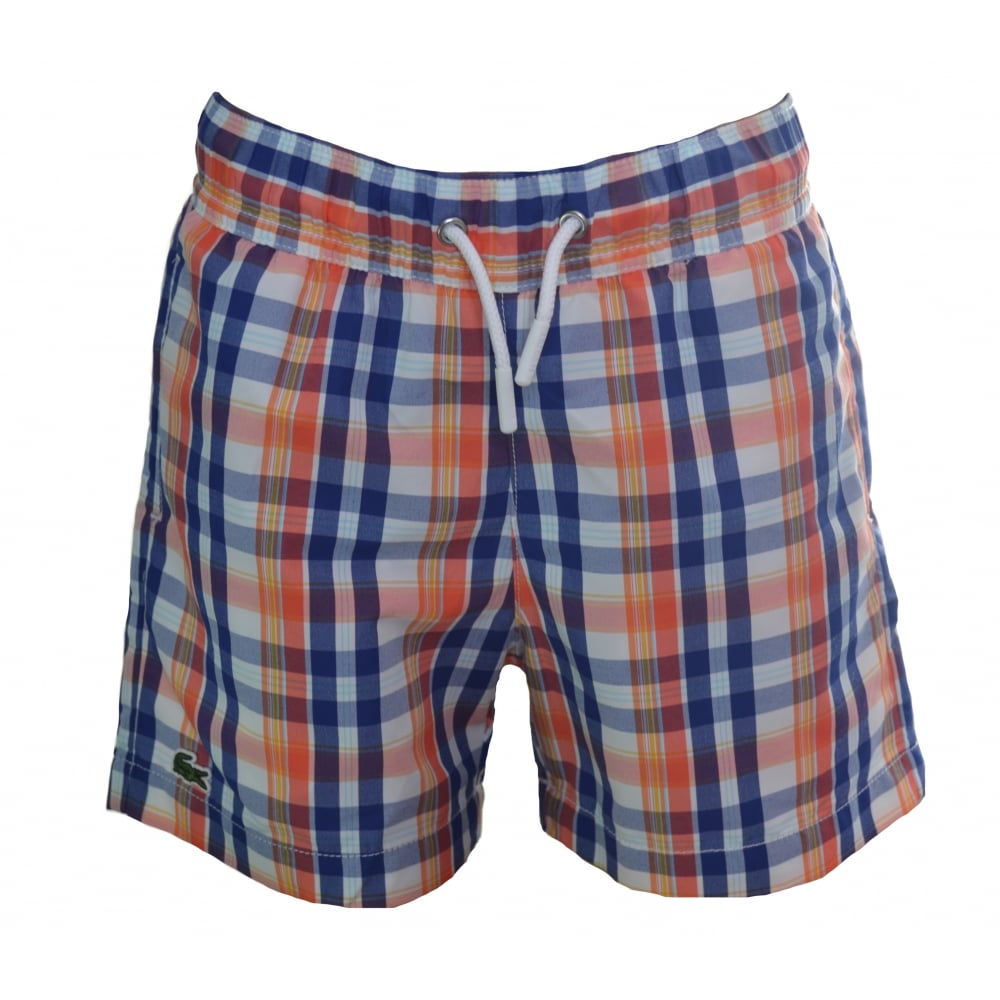 b6df6c9815e24 Lacoste Kids Blue And Orange Check Swim Shorts