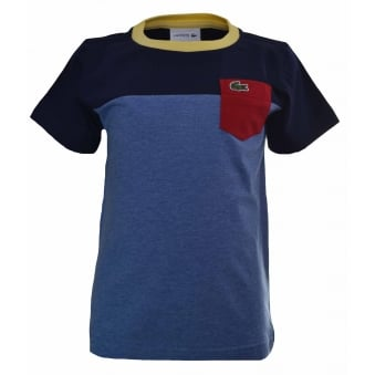 Lacoste Kids Blue Colour Block T-Shirt
