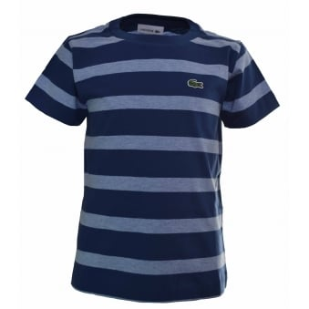 Lacoste Kids Blue Striped T-Shirt