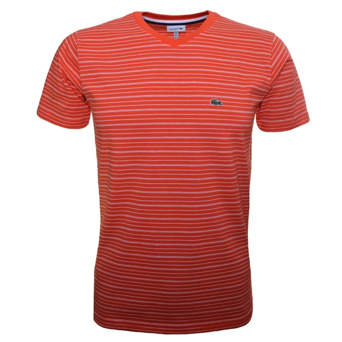Lacoste Kids Coral Short Sleeve V Neck T-Shirt