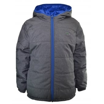 Lacoste Kids Grey And Blue Reversible Padded Jacket