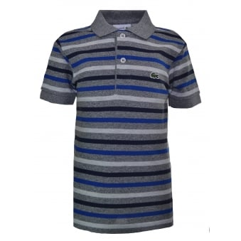 Lacoste Kids Grey And Blue Striped Short Sleeve Polo Shirt