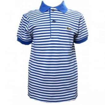 Kids Lacoste Blue Stripe Polo Shirt