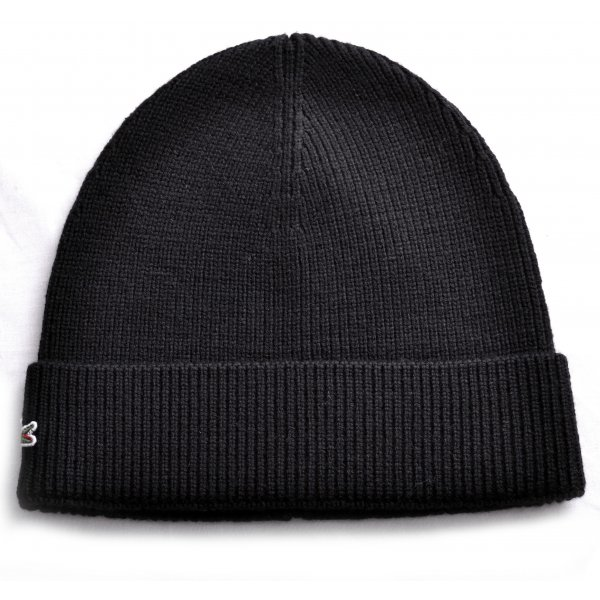 kids lacoste black knitted beanie hat 57bb04e3b86
