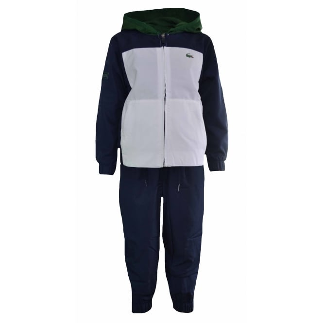 Lacoste Kids Navy And Blue Colour Block Tracksuit
