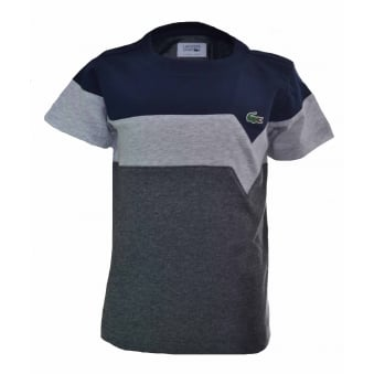 Lacoste Kids Navy And Grey T-Shirt